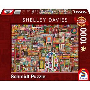 "Schmidt Spiele (59698) - Shelley Davies: ""Vintage Artist Materials"" - 1000 pièces"