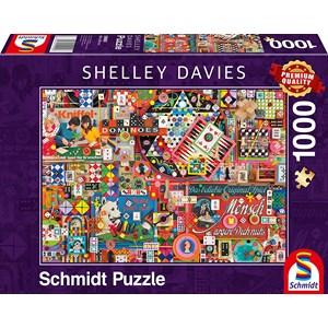 "Schmidt Spiele (59900) - Shelley Davies: ""Vintage Board Games"" - 1000 pièces"