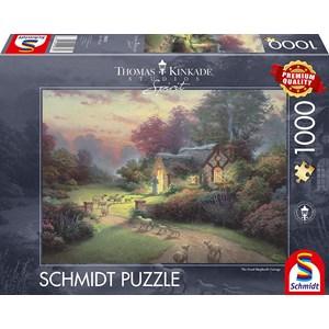 """Schmidt Spiele (59678) - Thomas Kinkade: """"Spirit, Cottage of the Good Shepherd"""" - 1000 pièces"""