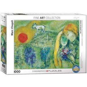 """Eurographics (6000-0848) - Marc Chagall: """"Les Amoureux de Vence"""" - 1000 pièces"""