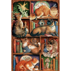 """Cobble Hill (50710) - Janet Kruskamp: """"La Bibliothèque à Chats"""" - 2000 pièces"""