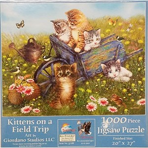 """SunsOut (37186) - Giordano Studios: """"Kittens on a Field Trip"""" - 1000 pièces"""