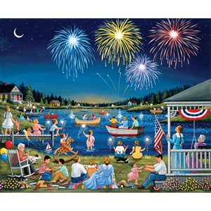 """SunsOut (61342) - """"Lakeside on the Fourth of July"""" - 1000 pièces"""