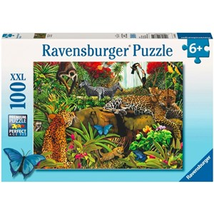 """Ravensburger (10781) - Mary Thompson: """"Animaux de la jungle"""" - 100 pièces"""