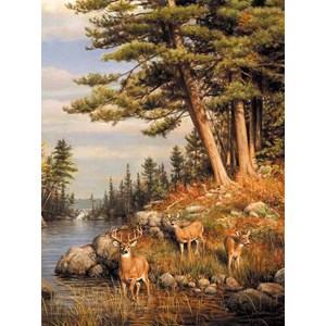 "Buffalo Games (11168) - James Hautman: ""Deer and Pines"" - 1000 pièces"