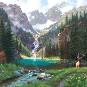 """SunsOut (52982) - Mark Keathley: """"Elk at the Waterfall"""" - 1000 pièces"""