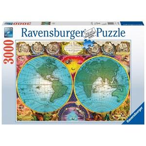 "Ravensburger (17074) - Tom Antonishak: ""Antique Map"" - 3000 pièces"