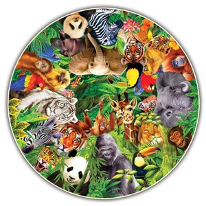 """A Broader View (373) - """"Wild Animals (Round Table Puzzle)"""" - 500 pièces"""