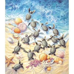 "SunsOut (SV45501) - Sherry Vintson: ""Green Turtle Hatchlings"" - 550 pièces"
